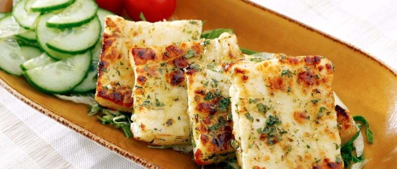 Grilled Haloumi with Arugula Salad