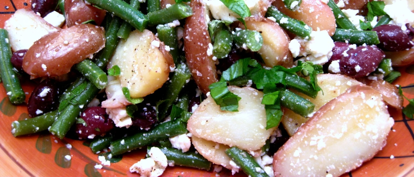 Grilled Potato Salad with Feta, Green Beans, and Olives